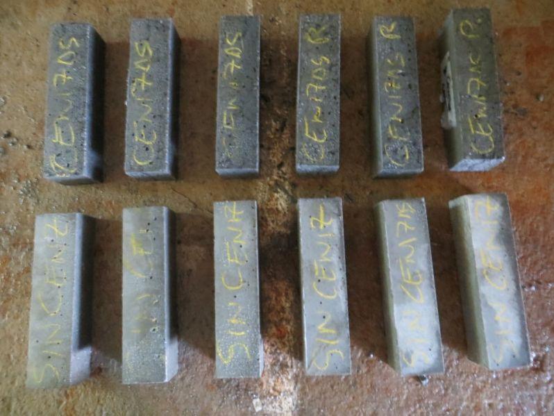Primeras amasadas de mortero con cenizas
