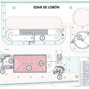Plano EDAR de Lobón / Map of the Lobón WWTP